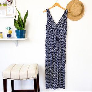 LOFT Blue White Printed Maxi Dress